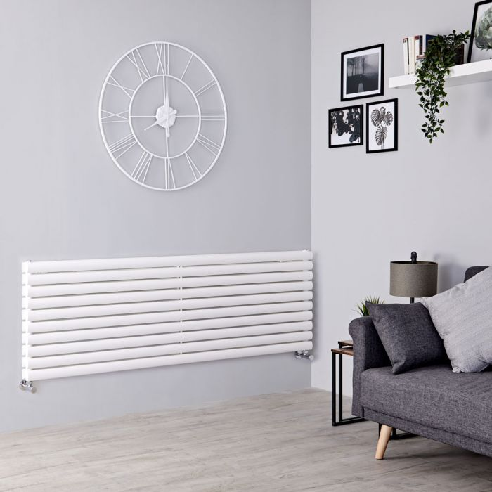 Milano Aruba - White Horizontal Designer Radiator 590mm x 1780mm (Double Panel)