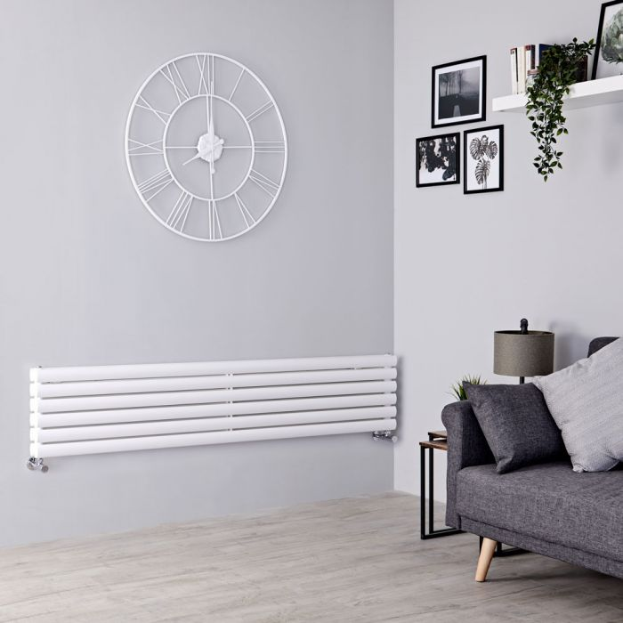 Milano Aruba - White Horizontal Designer Radiator 354mm x 1780mm (Double Panel)