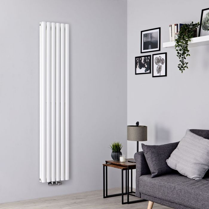 Milano Aruba Flow - White Vertical Double Panel Middle Connection Designer Radiator 1780mm x 354mm