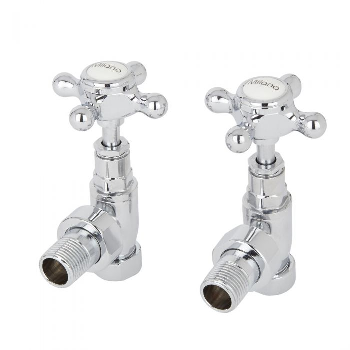 Traditional Chrome Angled Radiator Valves Pair 15mm