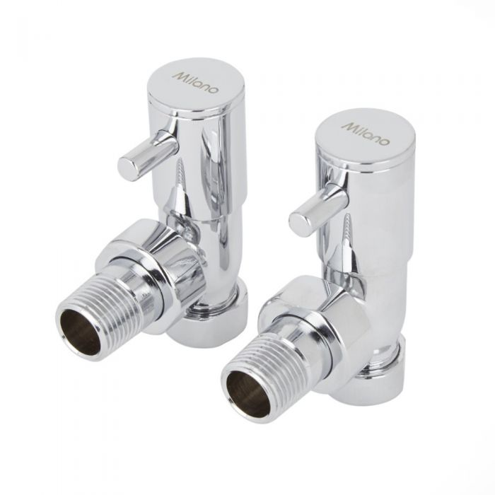 Milano - Minimalist Chrome Angled Radiator Valves (Pair)