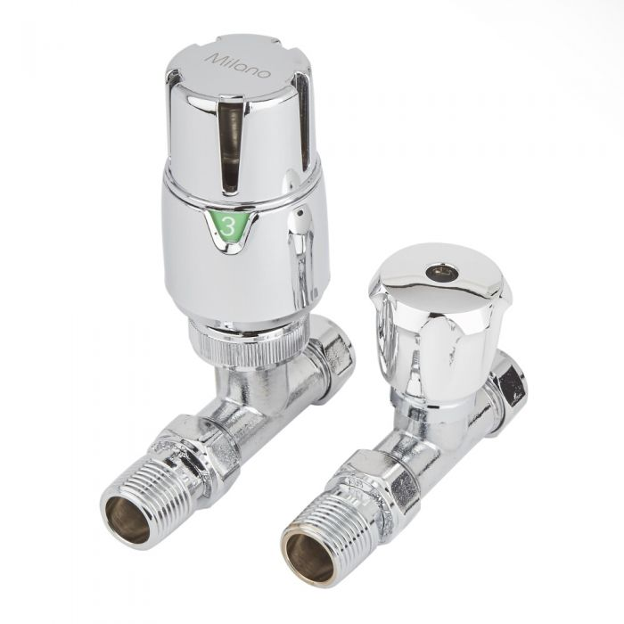 Milano - Chrome Thermostatic Straight Radiator Valves (Pair)