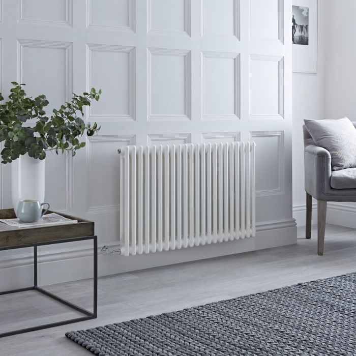 Milano Windsor - Traditional 22 x 2 Column Electric Radiator Cast Iron Style White 600mm x 1010mm