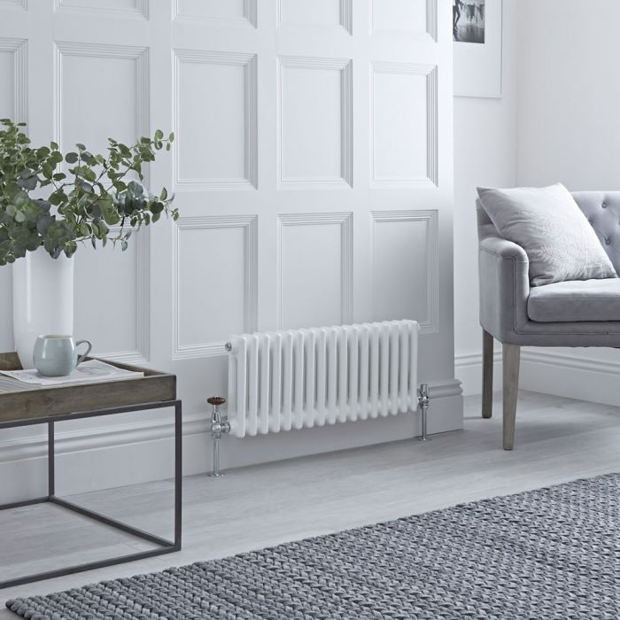 Milano Windsor - Horizontal Double Column White Traditional Cast Iron Style Radiator - 300mm x 785mm