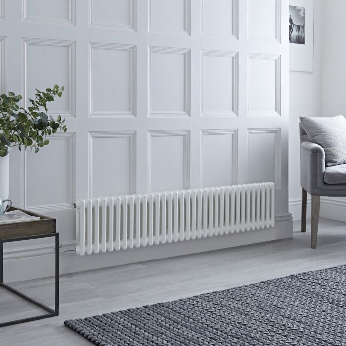 Milano Windsor - Traditional 33 x 2 Column Electric Radiator Cast Iron Style White 300mm x 1505mm