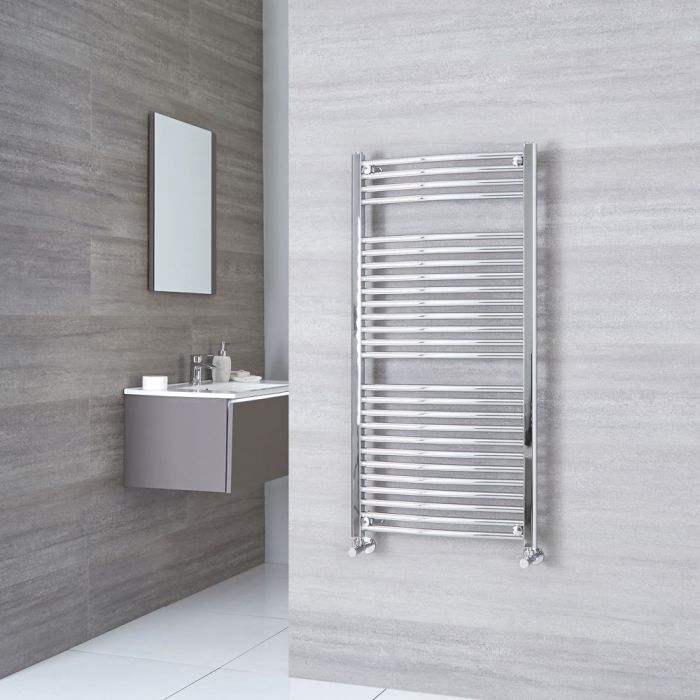 Sterling - Premium Chrome Curved Heated Towel Rail 1200mm x 600mm