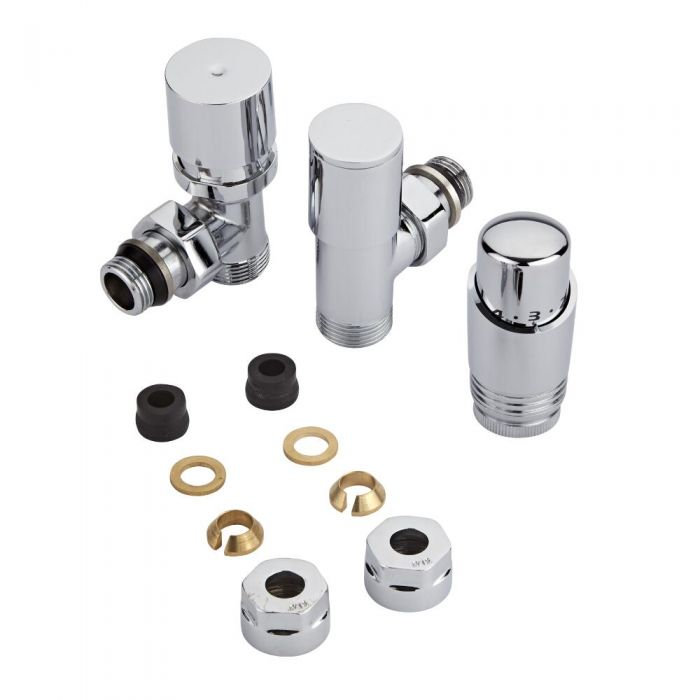 Chrome 3/4'' Male Thread Valve with Chrome TRV & 14mm Copper Adapters