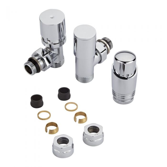 Chrome 3/4'' Male Thread Valve with Chrome TRV & 16mm Copper Adapters