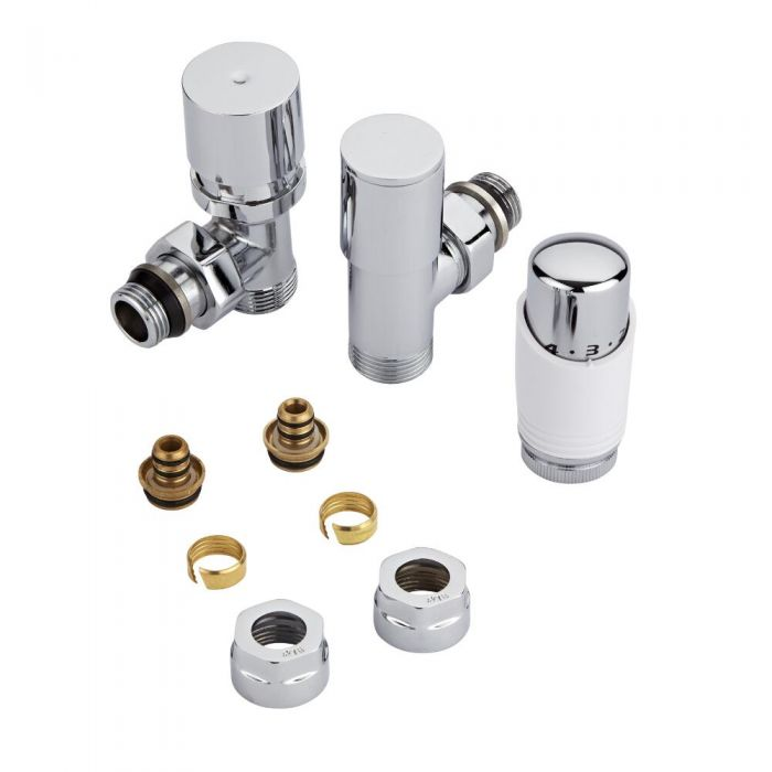Chrome 3/4'' Male Thread Valve with White TRV & 16mm Multi Adapters
