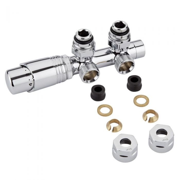 "Chrome 3/4"" Male H Block Angled Valve with Chrome TRV Head & 12mm Copper Adapters"