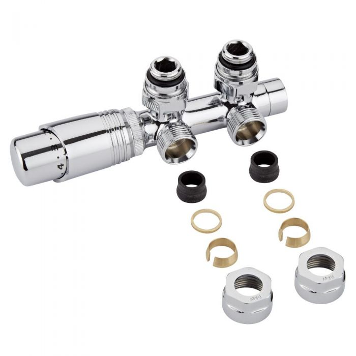 "Chrome 3/4"" Male H Block Angled Valve with Chrome TRV Head & 16mm Copper Adapters"