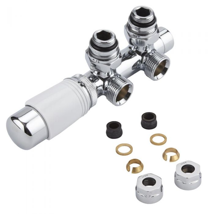 """Chrome 3/4"""" Male H Block Angled Valve with White TRV Head & 14mm Copper Adapters"""