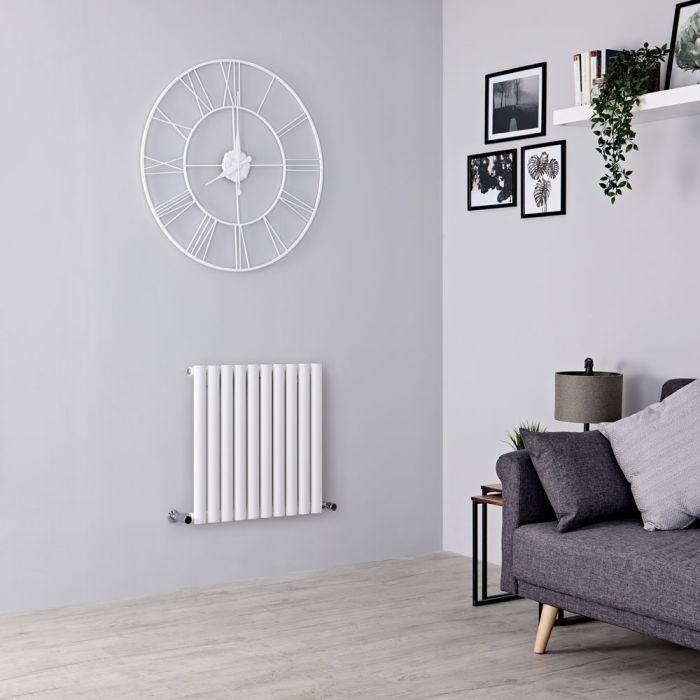 Milano Aruba Aiko - Modern White Horizontal Designer Radiator 600mm x 595mm (Single Panel)