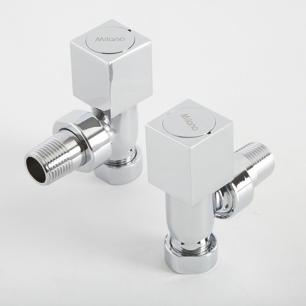 15mm Traditional Brass Angled Heated Towel Rail Radiator Thermostatic Valves Milano Windsor Pair