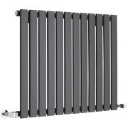 Milano Alpha - Black Horizontal Single Slim Panel Designer Radiator 635mm x 840mm
