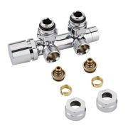 "Chrome 3/4"" Male Thread H Block Angled Valve Chrome Handwheel with 14mm Multi Adapters"