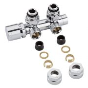 "Chrome 3/4"" Male Thread H Block Angled Valve Chrome Handwheel with 15mm Copper Adapters"