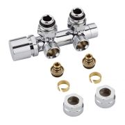 "Chrome 3/4"" Male Thread H Block Angled Valve Chrome Handwheel with 16mm Multi Adapters"
