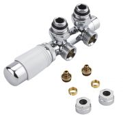 "Chrome 3/4"" Male H Block Angled Valve with White TRV Head & 14mm Multi Adapters"