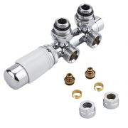 "Chrome 3/4"" Male H Block Angled Valve with White TRV Head & 16mm Multi Adapters"