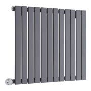 Milano Alpha Electric - Anthracite Horizontal Single Slim Panel Designer Radiator 635mm x 840mm