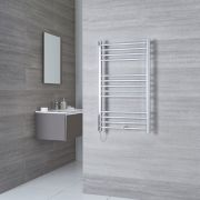 Milano Eco Electric - Flat Chrome Heated Towel Rail 1000mm x 500mm