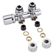 "Chrome 3/4"" Male Thread H Block Angled Valve Chrome Handwheel with 14mm Copper Adapters"