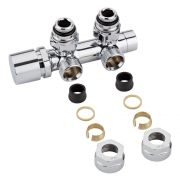 "Chrome 3/4"" Male Thread H Block Angled Valve Chrome Handwheel with 16mm Copper Adapters"
