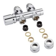 "Chrome 3/4"" Male Thread H Block Straight Valve Chrome Handwheel with 15mm Copper Adapters"