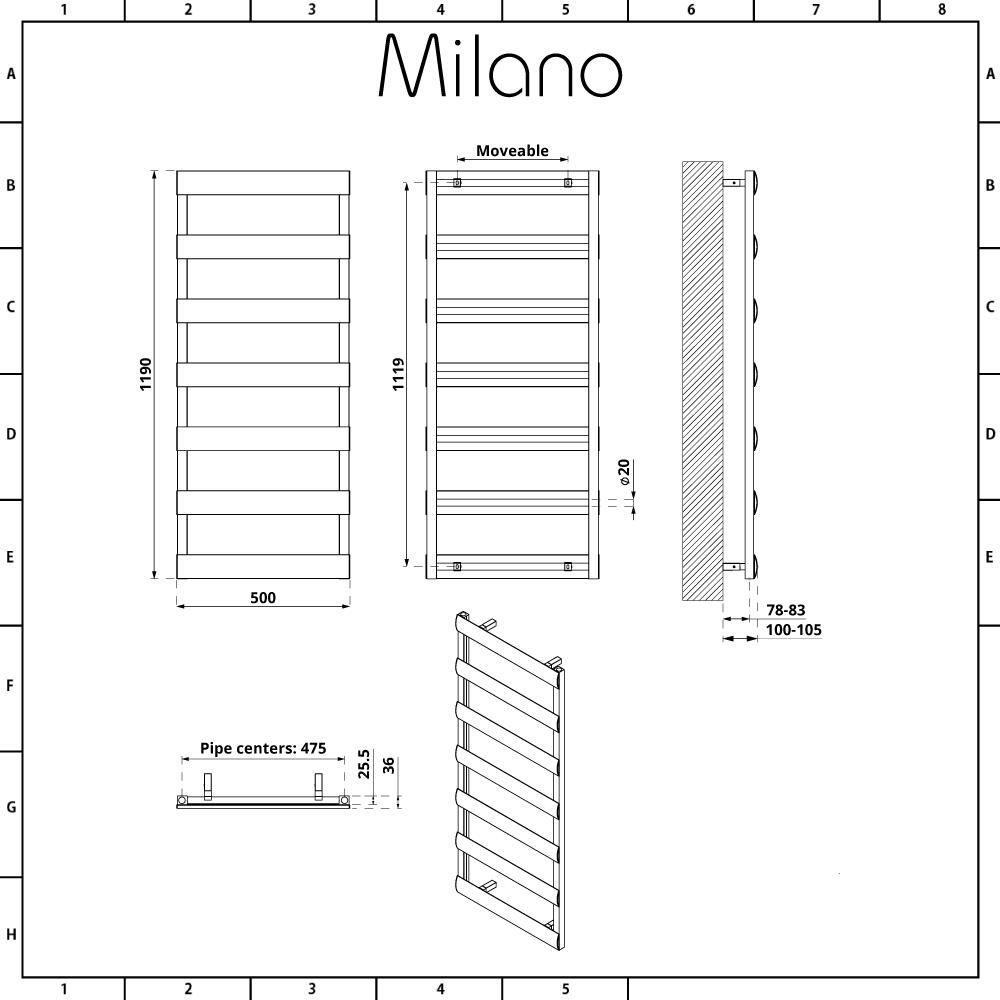 Milano Passo Anthracite Aluminium Designer Towel Rail