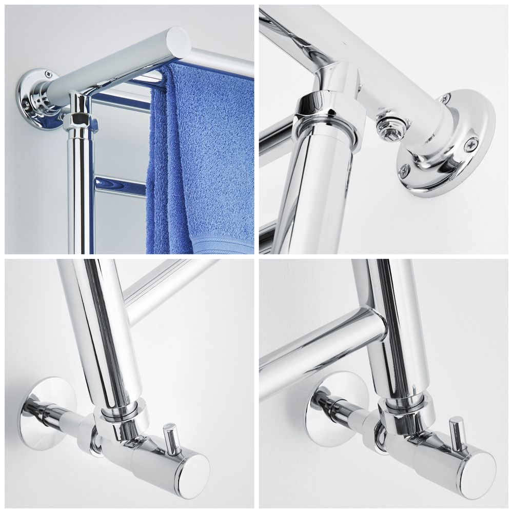 Milano Pendle Chrome Heated Towel Rail With Heated Shelf