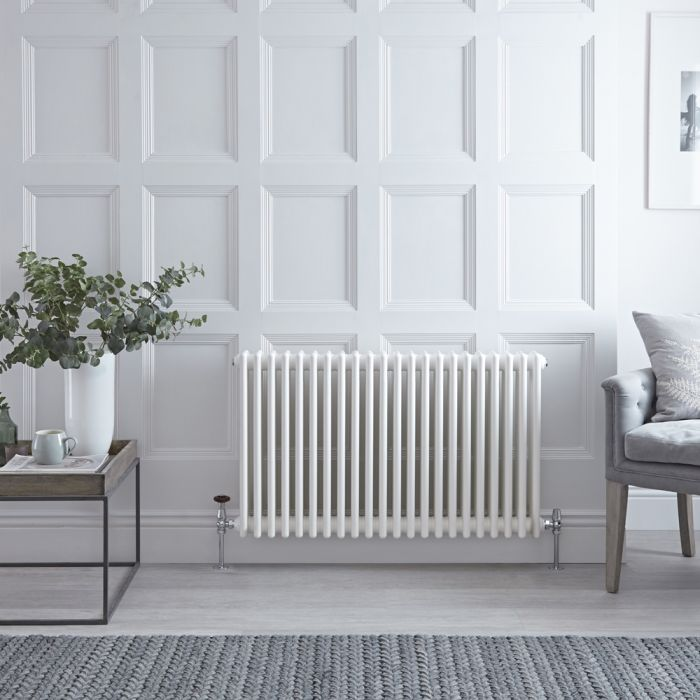 Stelrad Regal - Horizontal Triple Column White Traditional Cast Iron Style Radiator - 500mm x 1042mm