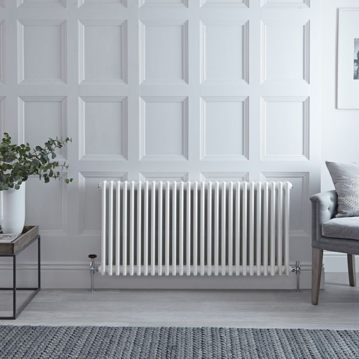 Stelrad Regal - Horizontal Triple Column White Traditional Cast Iron Style Radiator - 500mm x 1272mm