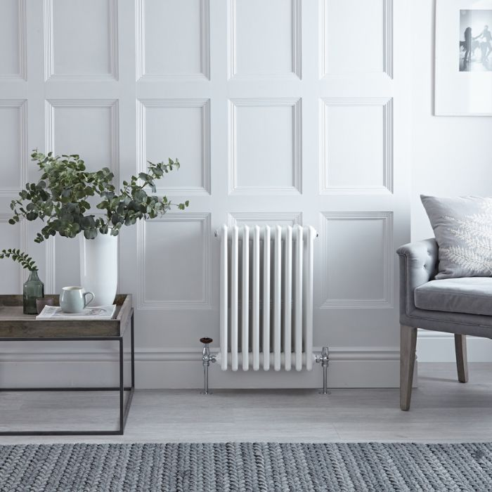 Stelrad Regal - Horizontal Four Column White Traditional Cast Iron Style Radiator - 600mm x 444mm
