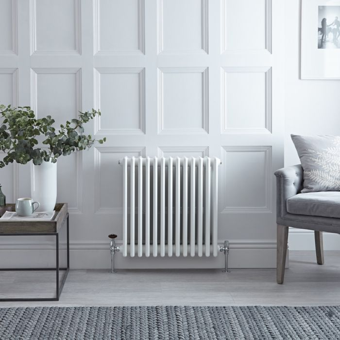 Stelrad Regal - Horizontal Four Column White Traditional Cast Iron Style Radiator - 600mm x 628mm