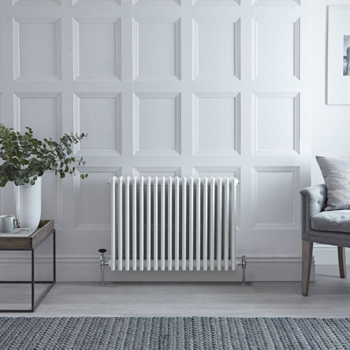 Stelrad Regal - Horizontal Four Column White Traditional Cast Iron Style Radiator - 600mm x 858mm