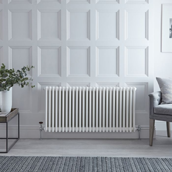 Stelrad Regal - Horizontal Four Column White Traditional Cast Iron Style Radiator - 600mm x 1272mm