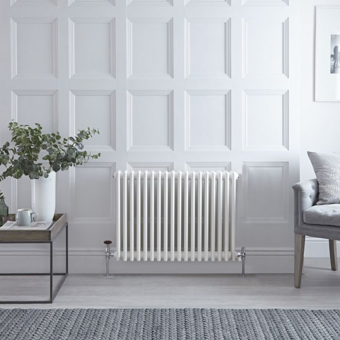 Stelrad Regal - Horizontal Triple Column White Traditional Cast Iron Style Radiator - 750mm x 858mm