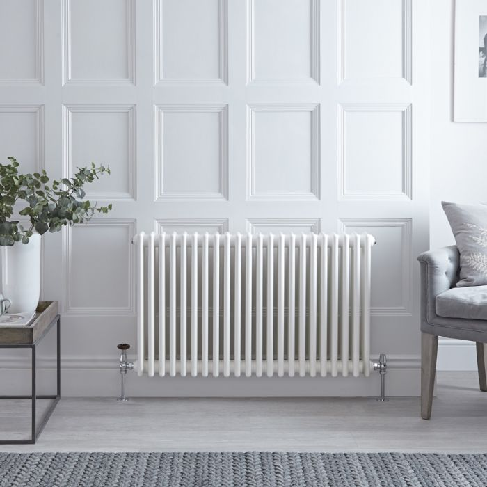 Stelrad Regal - Horizontal Triple Column White Traditional Cast Iron Style Radiator - 750mm x 1042mm
