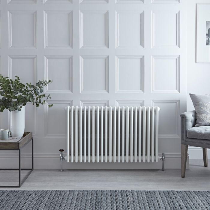 Stelrad Regal - Horizontal Four Column White Traditional Cast Iron Style Radiator - 750mm x 1042mm