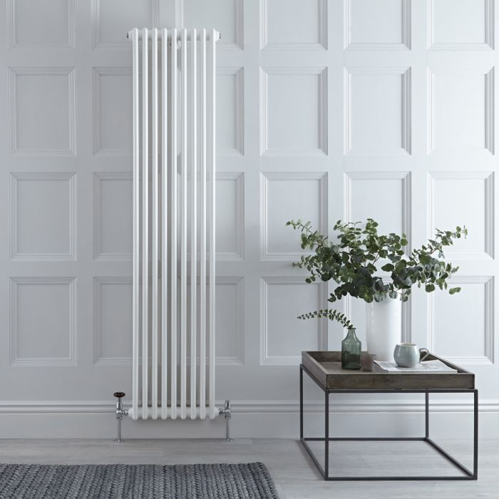 Stelrad Regal - Vertical Double Column White Traditional Cast Iron Style Radiator - 1800mm x 444mm