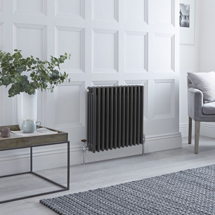 Stelrad Regal - Horizontal Four Column Anthracite Traditional Cast Iron Style Radiator - 600mm x 628mm