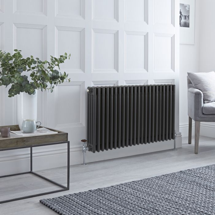 Stelrad Regal - Horizontal Four Column Anthracite Traditional Cast Iron Style Radiator - 600mm x 1042mm