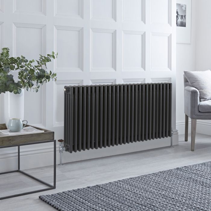 Stelrad Regal - Horizontal Four Column Anthracite Traditional Cast Iron Style Radiator - 600mm x 1272mm