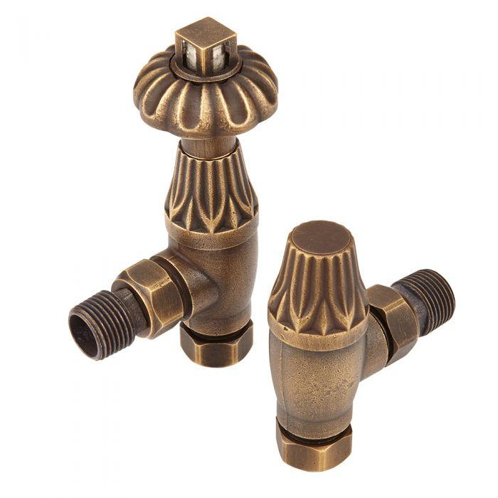 Milano - Antique Style Bronze Thermostatic Angled Radiator Valves (Pair)