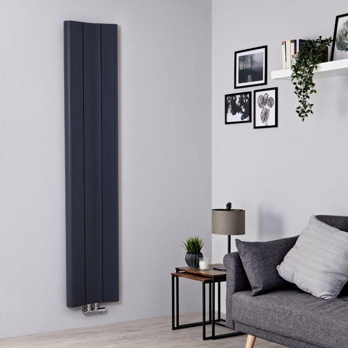 Milano Solis - Anthracite Vertical Aluminium Designer Radiator 1800mm x 370mm