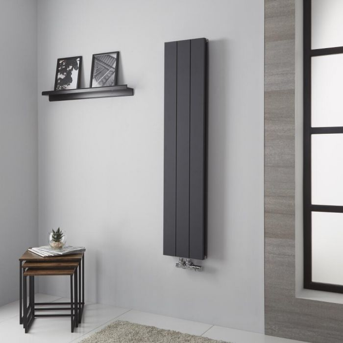 Milano Kit - Anthracite Vertical Aluminium Designer Radiator 1400mm x 280mm (Double Panel)
