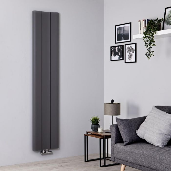 Milano Solis - Light Grey Vertical Aluminium Designer Radiator 1800mm x 370mm