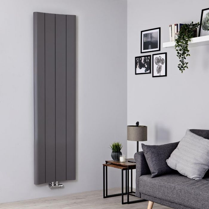 Milano Solis - Light Grey Vertical Aluminium Designer Radiator 1800mm x 495mm