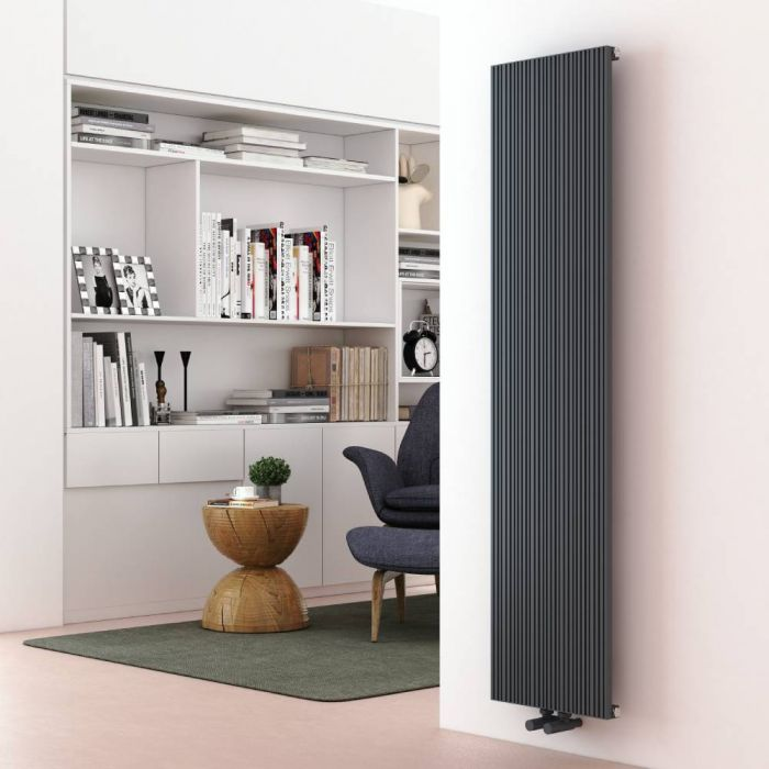 Milano Lex - Anthracite Vertical Aluminium Designer Radiator 1600mm x 375mm